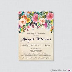 Bridal Shower Invitation Printable  Floral by ShowerThatBrideShop