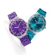 Metallic Bracelet Watch in Purple & Teal Was thinking of returning the silver watch I ordered for myself and getting the Teal for you.  I love the Purple!  Let me know if you would like the Teal!