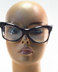 04a83f1b69 Vintage 1950 s BOC France Black Over-Sized Cat s Eye Eyeglass Sunglass  Frames    BOC