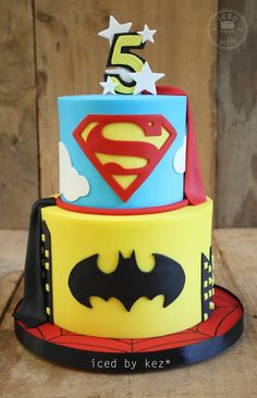 Iced by Kez - This Super Hero cake was made for a party styled by...