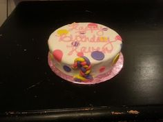 Sweet Elise Cakes- pink, yellow, and purple polka dot cake