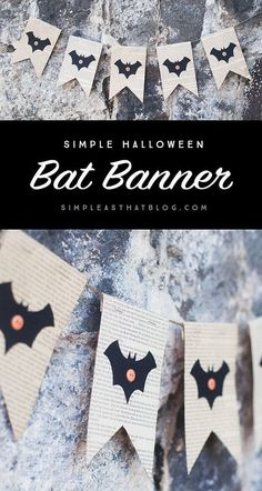Bat Book Page Banner For Halloween and other decor