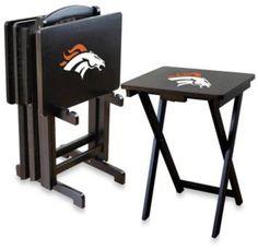 NFL Denver Broncos TV Tray with Stand (Set of 4)
