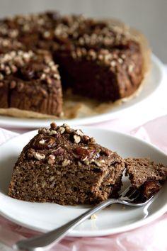 Dark chocolate date cake with pecans..yum!
