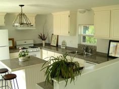 : single wide mobile home transformation!  Love the island.  Thats what we need.  A small place to eat