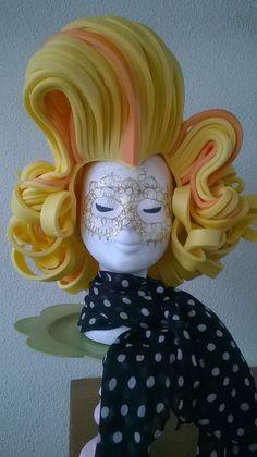 Marilyn Monroe foam wig in colors yellow and orange made by Lady Mallemour Foam Studio