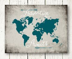 Adventure awaits map travel quote world map watercolor map map adventure awaits world map travel quote printable teal and gray arrows wall art decor poster sign digital print instant download pdf jpg gumiabroncs Choice Image