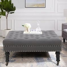 Square Ottoman Coffee Table, Square Storage Ottoman, Fabric Ottoman, Upholstered Ottoman, Cocktail Ottoman, Foot Rest, Living Room Decor, Living Rooms, Nail Head