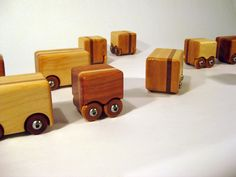 Handcrafted Wood Truck- Natural Maple w/ Cherry Racing Stripe- Modern Style.