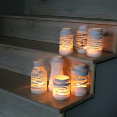 The Forge: diy: yarn wrapped painted jars