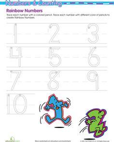 I love rainbow writing for young writers: Rainbow Numbers! Preschool Writing, Preschool Kindergarten, Preschool Learning, Fun Learning, Learning Activities, Teaching Numbers, Writing Numbers, Kids Class, Math For Kids