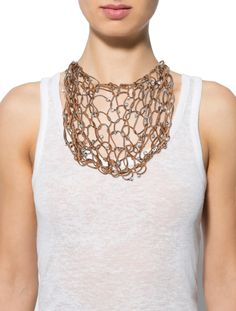 Brunello Cucinelli Bead and Woven Leather Necklace
