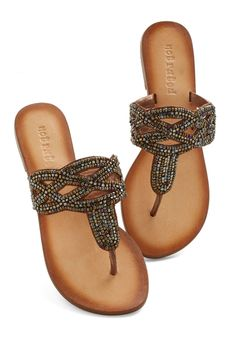 Need for Bead Sandal. Desiring extra shimmer in your summer wardrobe, youre thrilled to happen upon these bronze sandals! #bronze #modcloth
