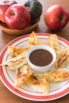 Apple pie potstickers are the fastest easiest way to enjoy all the flavors of an apple pie in bite-sized dumplings.