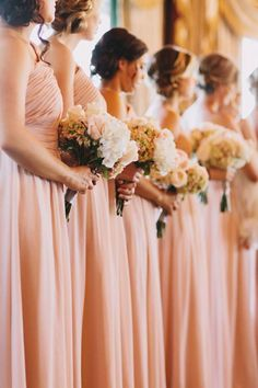 Rows of #bridesmaids in blush pink Photography: Dylan & Sara Photography - dylandsara.com Read More: http://www.stylemepretty.com/2014/05/19/rustic-glam-blush-pink-wedding/