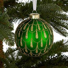 Buy John Lewis Glitter Droplets Bauble, Green/Gold Online at johnlewis.com