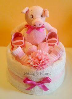 Little Pig diaper cake available at http://www.facebook.com/tortedipannoliniBettysHeart