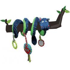 Jouet d'éveil en forme de spirale à tête d'animal, à installer sur la poussette, le landau, le lit à barreaux, pour divertir nos bébés... #spirales #eveil #tortillons #hippipos #hippopotame #papierbruissant #vibreur #miroir #pouetpouet #lesdéglingos