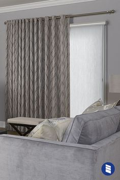 If you need to block glare and harmful UV rays coming in through your sliding glass door, traditional vertical blinds aren't the only choice. Blinds For Windows, Living Room Blinds, Blinds, Window Treatments Living Room, Wooden Blinds, Panel Blinds, Diy Blinds, Blinds Design, Diy Curtains