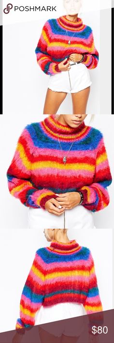 852 UNIF chunky fluffy rainbow jumper Chunky turtle neck fluffy rainbow stripe sweater , super cute and warm , it isn't itchy at all runs true to size and it is a cropped sweater it all depends on your torso. No flaws UNIF Sweaters Cowl & Turtlenecks
