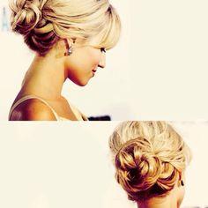 maybe for my hair pretty wedding updo Bridal Hair Up, Wedding Hair And Makeup, Wedding Updo, Bridal Hairstyles, Pretty Hairstyles, Bridesmaid Hairstyles, Coiffure Hair, Braut Make-up, My Hairstyle