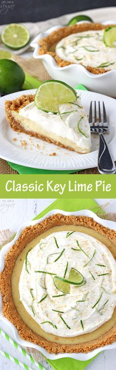 Such a terrific, classic pie! ~ Life, Love, and Sugar Best Dessert Recipes, Pie Recipes, Fun Desserts, Delicious Desserts, Cooking Recipes, Best Key Lime Pie, Keylime Pie Recipe, Pie Dessert, Food For Thought