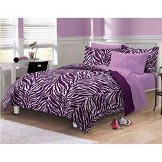 NEW-Twin-Full-Queen-Bed-Bag-Purple-Zebra-Stripe-7-pc-Comforter-Sheets-Set-WILD