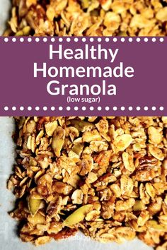 This low sugar homemade granola recipe is perfect as a healthy low carb dessert - top your favorite yogurt or pudding with this granola or even use it as a crisp on top of your berry or apple crisp! Low Calorie Granola, Low Sugar Granola, Healthy Granola Bars, Healthy Snacks, Keto Granola, Weight Watcher Granola Recipe, Apple Granola Recipe, Low Sugar Recipes, Low Sugar Snacks