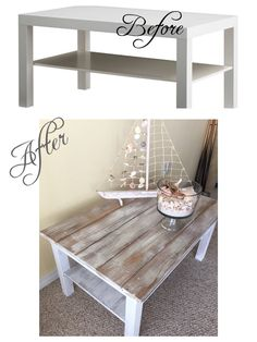 IKEA coffee table hack  Chalk paint French linen Dry brush pure white  Dry brush wood planks pure white Wood glue and nail with roofing nails since they are short with a fat head Clear wax all over Super easy!!