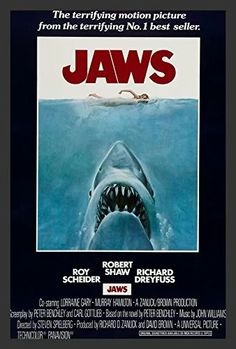 Buy Art For Less 'Jaws' Movie Poster Framed Vintage Advertisement Paper in Black/Blue/Brown, Size 20.5 H x 14.5 W in | Wayfair | Home Decor
