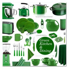"""""""Green: Kitchen & Dining"""" by anyasdesigns ❤ liked on Polyvore featuring interior, interiors, interior design, home, home decor, interior decorating, Kate Spade, Philips, Bungalow 5 and Kenwood"""