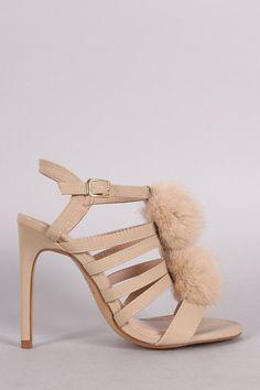 Shoe Republic LA Nubuck Strappy Pom Pom Stiletto Heel – Style Lavish