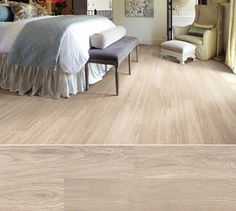 Shaw laminate in a white oak visual inspired by mellow oil-rubbed floors. Style Canterbury, color Baguette.