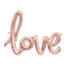 Little Boo-Teek - Love Script Rose Gold Foil Balloon | Jumbo Pink Confetti Balloons | Designer Party Supplies