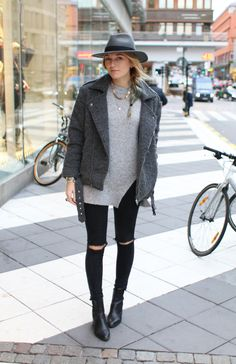 casual fall street style, destroyed denim