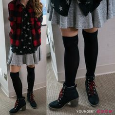 Adorable thigh highs with a heeled boot styled by @patriciafield.  Want more…