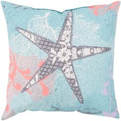 18' Starfish Dreams Bezique Blue and Chrome Gray Throw Pillow Shell >>> Be sure to check out this awesome product. (This is an affiliate link) #CozyHomeDecor