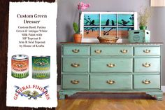 Check out this gorgeous custom mixed General Finishes Milk Paint color by House of Krafts, http://www.houseofkrafts.com/.  It's a combination of GF Basil, Antique White and Patina Green Milk Paint.  Lovely!