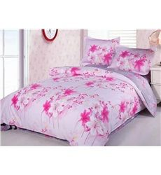 Pink and White Lily Print 4-Piece Cotton Duvet Cover Sets