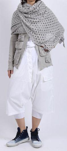 rundholz black label - Hose Cotton A-Linie 7/8 Länge white - Sommer 2016 - stilecht - mode für frauen mit format...