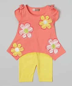 Love this Fuchsia Floral Sidetail Top & Yellow Leggings - Toddler on #zulily! #zulilyfinds