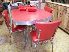 1950 S Chrome Retro Red Kitchen Table With 2 Red By Elcroft223 250 00 Food Pinterest Red Kitchen Tables Red Kitchen And Retro
