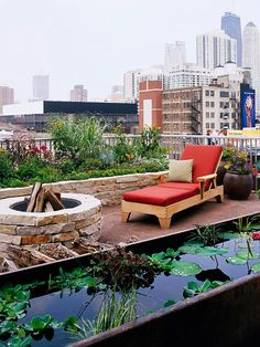 Skyline Scenery Plants and water add beauty to this rooftop space. A narrow, raised water garden provides a textural and visual contrast to plant and hardscape elements.