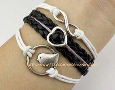 Jewelry bracelet cute bird bracelet heart bracelet by handworld, $5.29