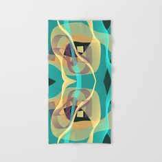 Modern abstract fractal artwork / design with floating silky translucent shapes in the colors turquoise, warm yellow and soft orange. (modern, design, designs...