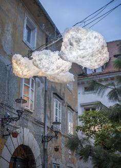 coole bastelidee für DIY Wolken-Lampen als kreative gartendeko und gartengestaltung mit LED Leuchten