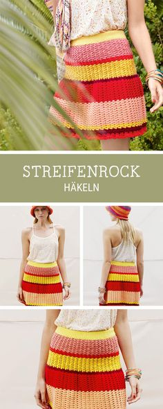 DIY-Anleitung: Farbenfrohen Rock mit Streifen häkeln / diy pattern for a crocheted skirt with stripes, fashion diy via DaWanda.com