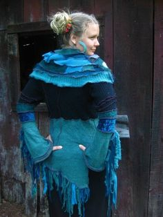Posts about upcycled sweaters written by lyrickinard Boho Chic, Shabby Chic, Sweater Coats, Sweaters, Tunics, Upcycled Sweater, Recycled Clothing, Design Inspiration, Couture