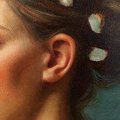 """Posted by howardlyonart : I really like painting ears. I love how the light passes through the skin and how the anatomy creates so many interesting shapes and forms. Work in progress. Detail of an 8""""x10"""" oil painting. #art #painting #oilpainting"""