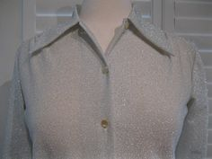 Vintage 1970s Light Silver Polyester With by GoodBuyForNow on Etsy